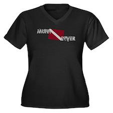 Muff Diver Women's Plus Size V-Neck Dark T-Shirt