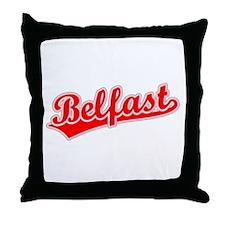 Retro Belfast (Red) Throw Pillow