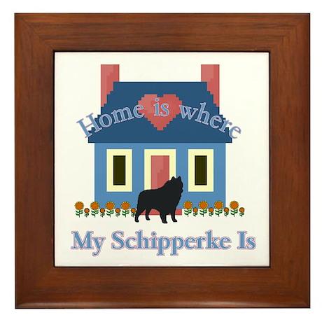 Schipperke Home Is Framed Tile
