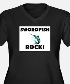 Swordfish Rock! Women's Plus Size V-Neck Dark T-Sh