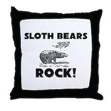 Sloth Bears Rock! Throw Pillow