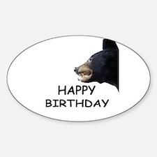 HAPPY BIRTHDAY BEAR Oval Decal