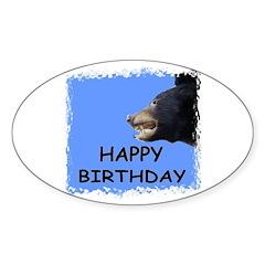 HAPPY BIRTHDAY BEAR Oval Sticker (10 pk)