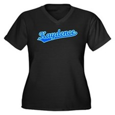 Retro Kaydence (Blue) Women's Plus Size V-Neck Dar