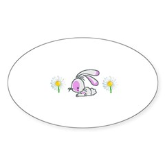 BUNNY DAISY Oval Decal