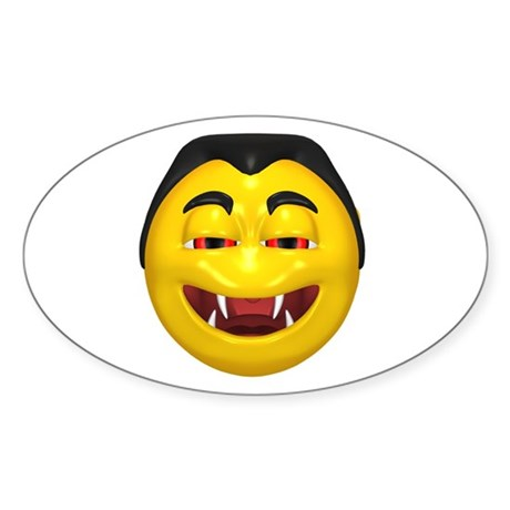 Laughing Vampire Face Oval Sticker (50 pk)