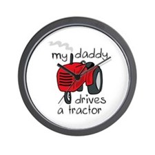 Daddy Drives A Tractor Wall Clock