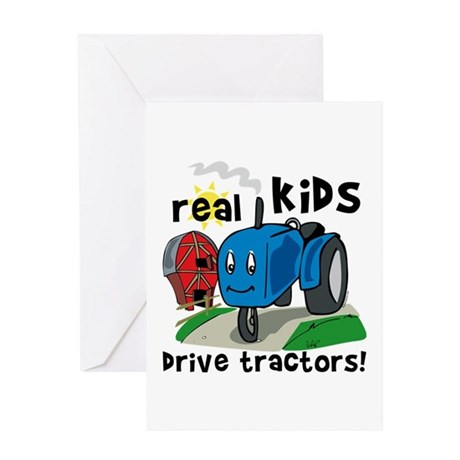 Real Kids Drive Tractors Greeting Card
