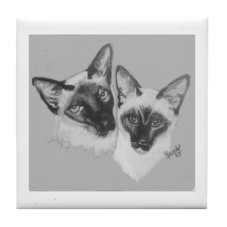 Siamese - 2 b/w Tile Coaster