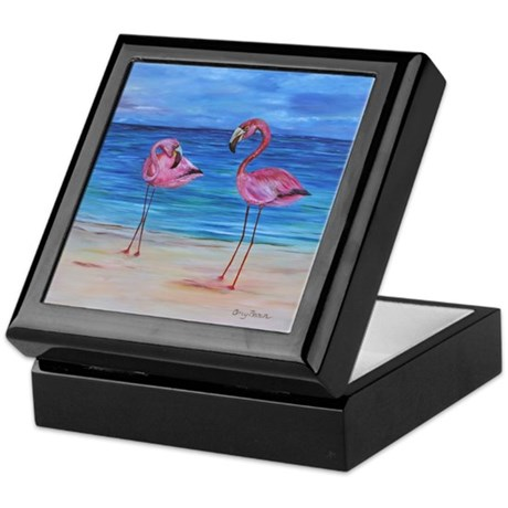Two Flamingos Keepsake Box