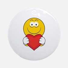 Smiley Face Holding Heart Ornament (Round)
