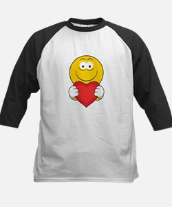 Smiley Face Holding Heart Kids Baseball Jersey
