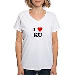 I Love KU Women's V-Neck T-Shirt