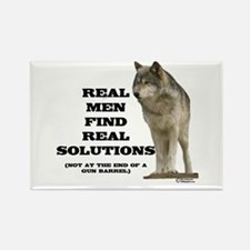 """Real Men Find Real Solutions Rectangle Magne"