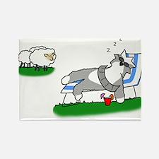 Sunning Sheepdog Rectangle Magnet