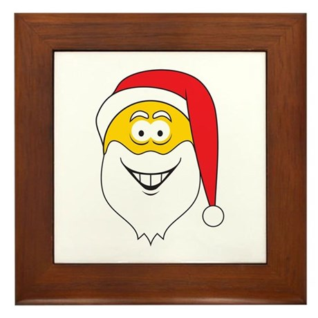 Santa Claus Smiley Face Framed Tile