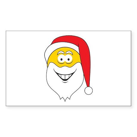Santa Claus Smiley Face Rectangle Sticker