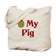 Olive (I Love) My Pig Tote Bag