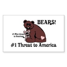 Bears, #1 Threat to America Rectangle Decal