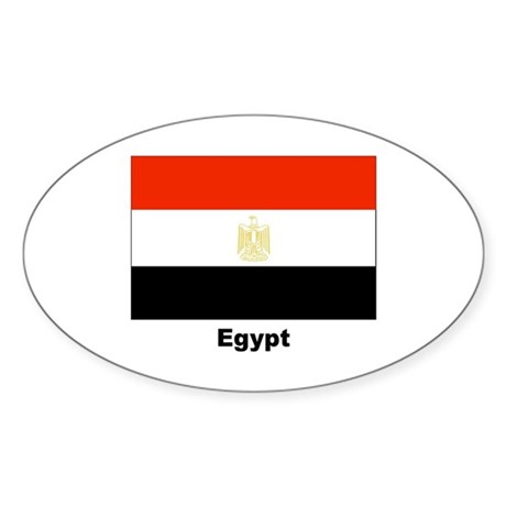 Egypt Egyptian Flag Oval Sticker