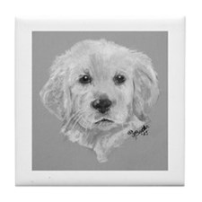 Golden Retriever Puppy 2 b/w Tile Coaster