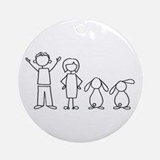2 lop bunnies family Ornament (Round)