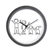 2 lop bunnies family Wall Clock