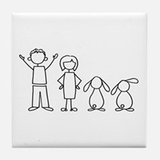 2 lop bunnies family Tile Coaster