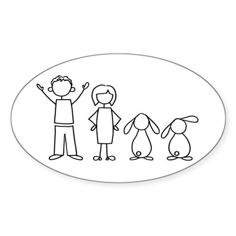 2 lop bunnies family Oval Sticker