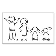 2 lop bunnies family Rectangle Decal