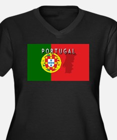 Portugal Flag Extra Women's Plus Size V-Neck Dark
