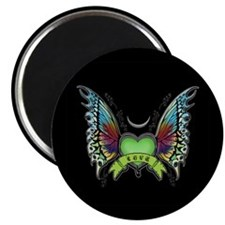 "Amazing Butterfly Winged Hear 2.25"" Magnet (1"
