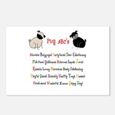 Pug ABC's Postcards (Package of 8)