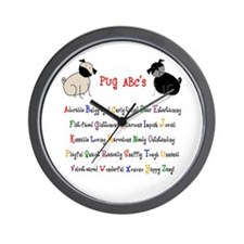 Pug ABC's Wall Clock