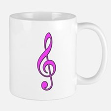 Retro Hot Pink Treble Clef Mug