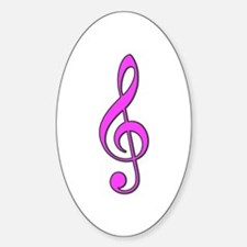 Retro Hot Pink Treble Clef Oval Decal
