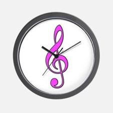 Retro Hot Pink Treble Clef Wall Clock