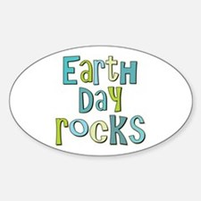 Earth Day Rocks Holiday Oval Decal