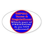 Repeal Taxes#1c Oval Sticker (50 pk)