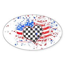 USA Flag Racing Oval Decal