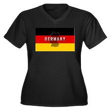 Germany Flag Extra Women's Plus Size V-Neck Dark T