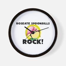 Roseate Spoonbills Rock! Wall Clock