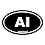AI Amelia Island Black Euro Oval Sticker (10 pk)