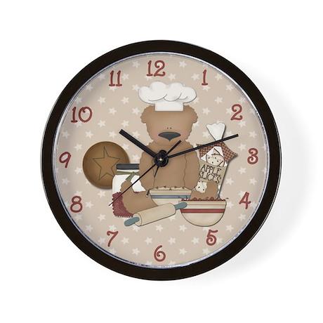 Country Teddy Bear Chef Wall Clock