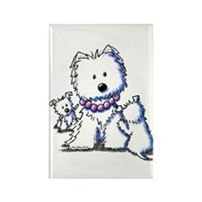 Westie Mom In Pearls Rectangle Magnet
