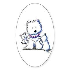 Westie Mom In Pearls Oval Sticker (10 pk)