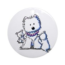 Westie Mom In Pearls Ornament (Round)