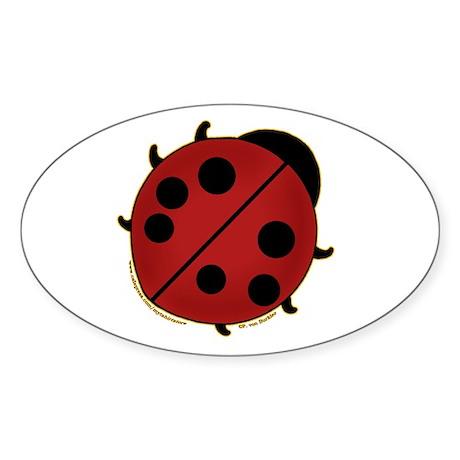 Cute Ladybug Design 2 Oval Sticker