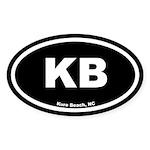 KB Kure Beach Black Euro Oval Sticker (10 pk)