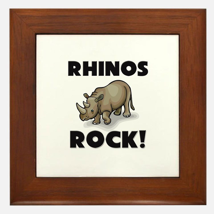 Rhinos Rock! Framed Tile